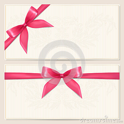 Free Gift Voucher / Coupon Template With Bow (ribbons) Stock Photos - 29030463