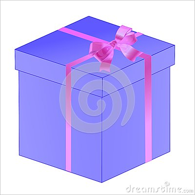 Gift white box with ribbon bow isolated
