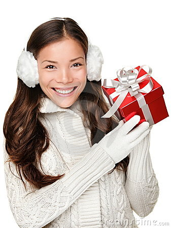 Free Gift Winter Holidays Girl On Christmas Shopping Royalty Free Stock Photography - 21112927