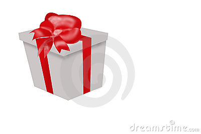 Gift Wrapped Box with Red Ribbon and Bow