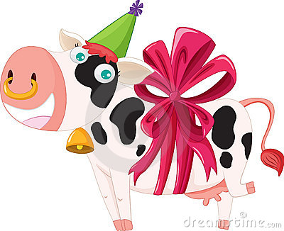 Gift wrapped cow