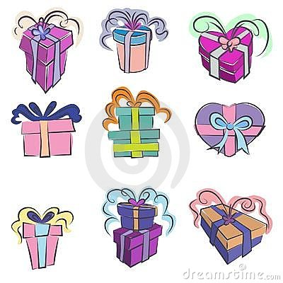 Gift wrapped icon set