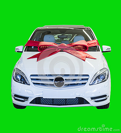 Free Gift Wrapped Motor Vehicle Isolated On Green Royalty Free Stock Photography - 26694907