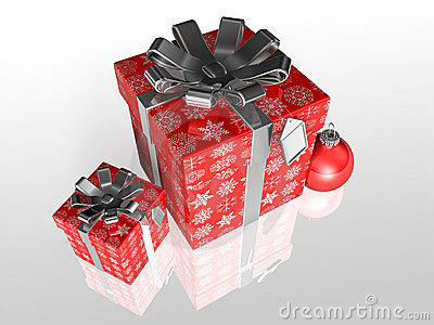 Gift wrapping red paper with ribbon