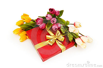 Giftbox and flowers