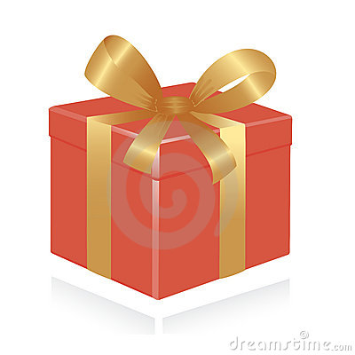 Giftbox with gold ribbon.