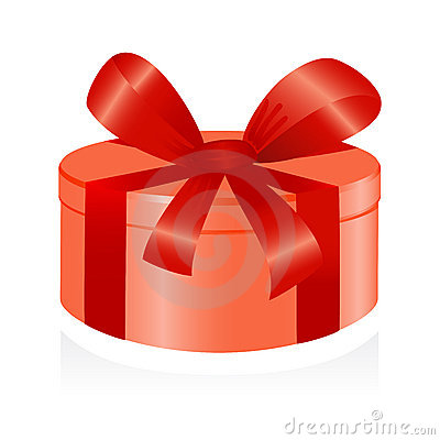 Giftbox with red ribbon.