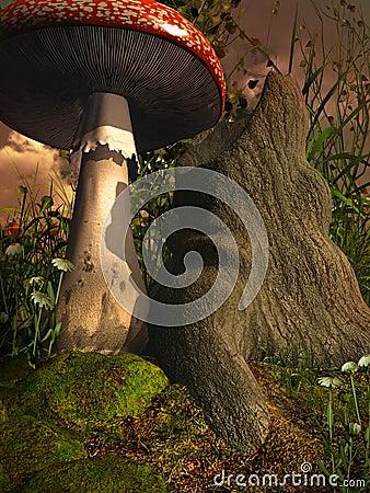 Giftige paddestoel door een oude boom