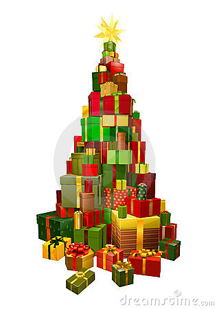 Gifts in Chritsmas tree shape illustration