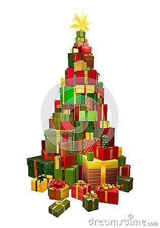 Gifts in Chritsmas tree shape illustration