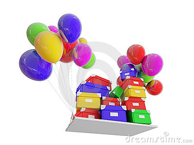 Gifts on color balloons