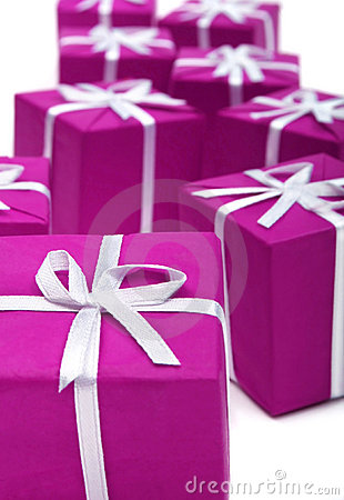 Gifts in magenta paper isolate