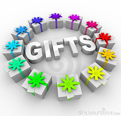 Gifts - Presents in Circle Around Word