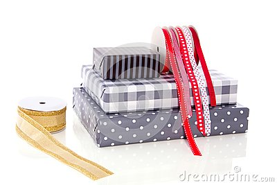 Gifts ribbons and wrappingpaper