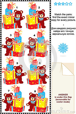 Gifts and teddy bear match mirrored images riddle