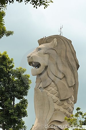 Gigantic Merlion monument Editorial Photo