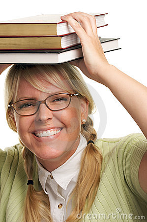 Free Giggling Woman Under Stack Of Books On Head Stock Photo - 5767770