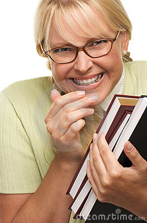 Giggly Shy Student With Braces Carries Books Stock Photo - Image ...