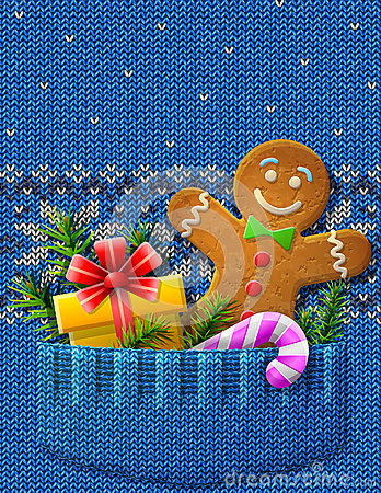 Gigngerbread man, gift, candy cane, branches in kn
