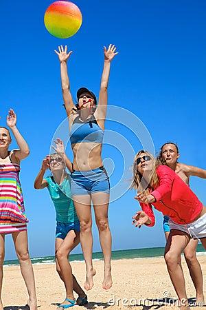 Giirls playing volleyball