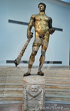 Free Gilded Bronze Statue Of Hercules Stock Image - 55117671