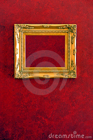 Gilded Gold Frame on Red Wall Background