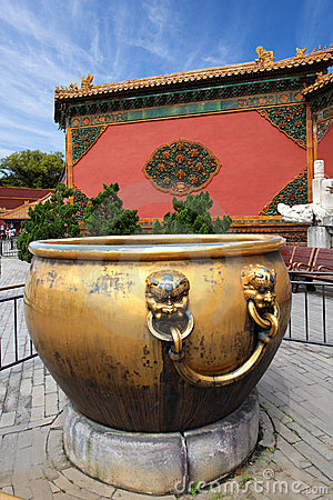 Gilt water tank in the forbidden city