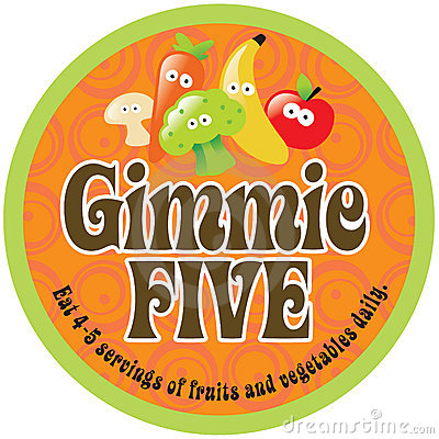 Gimmie Five Promo Sticker/Label on 70s background