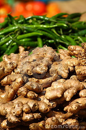 Free Ginger And Green Paprica In Traditional Market. Stock Images - 23123624