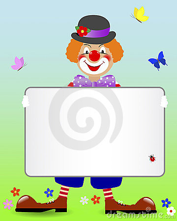 Ginger clown with a banner.