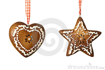 Ginger heart and star decoration for Christmas