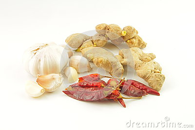 Ginger , hot pepper and garlic