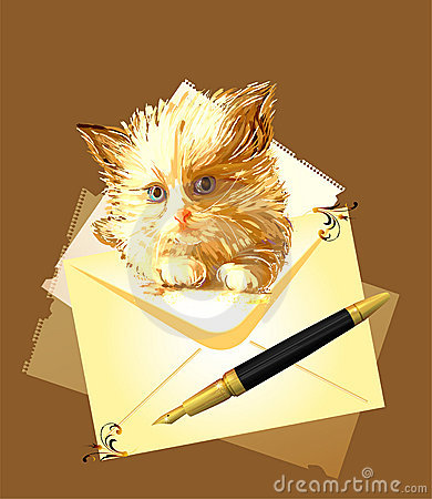 Ginger kitten with envelope.