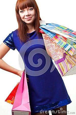 Ginger woman shopping