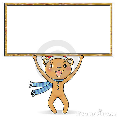Gingerbread bear holding a notice board