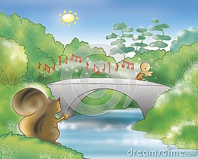 Gingerbread boy running on a bridge