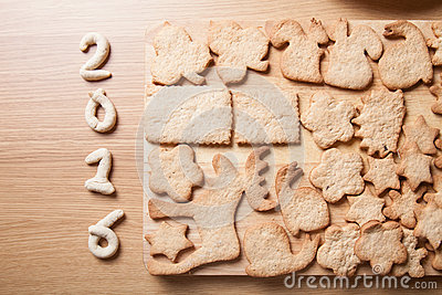 Gingerbread cookie in different shapes and figeres 2016 on light Stock Photo