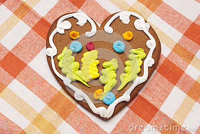 Gingerbread cookie in the form of heart