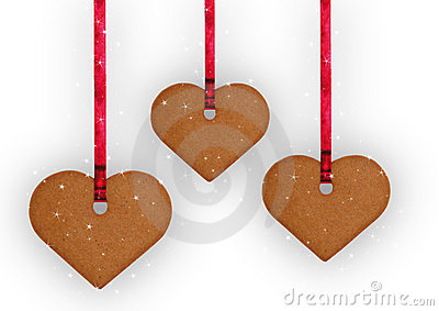 Gingerbread cookie hearts