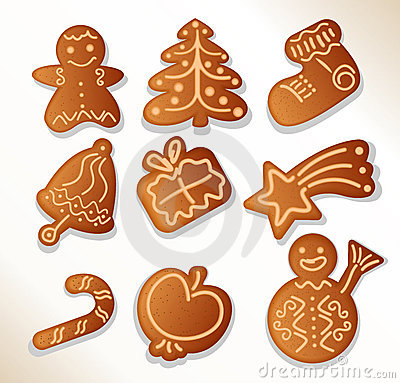 Gingerbread cookies - vector