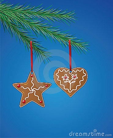 Gingerbread cookies on xmas tree