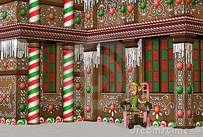 Gingerbread House with Elf