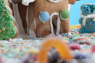 Gingerbread House isolated on blue