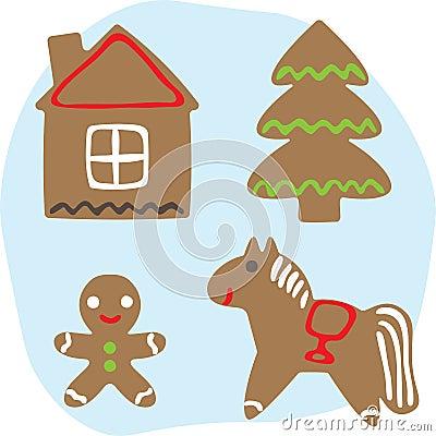 Life of a gingerbread man Vector Illustration