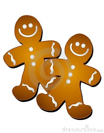 clip art illustration of a pair of gingerbread men cookies smiling ...