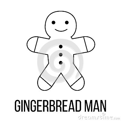 Gingerbread man icon or logo line art style. Vector Illustration