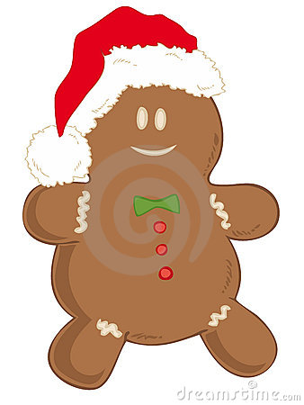Gingerbread man with Santa Claus Hat.