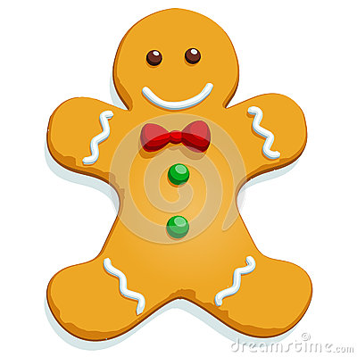 Gingerbread man Christmas character on white. Vector illustration.
