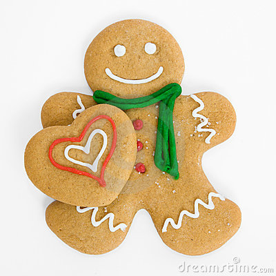 Free Gingerbread Man With Gingerbread Heart Stock Photography - 7415772