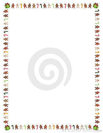 Free Gingerbread Men And Candy Cane Border Stock Photography - 10980082